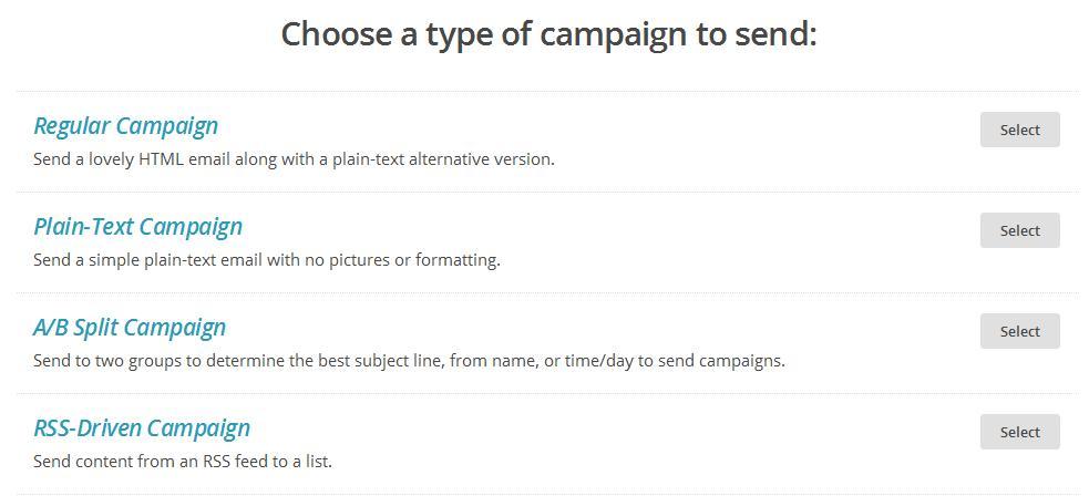 Elige el tipo de campaña que quieres crear