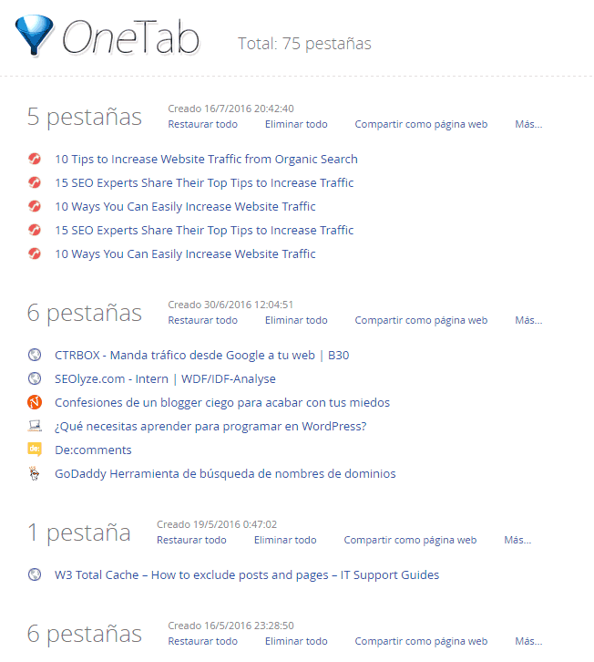 extension para Chrome One Tab